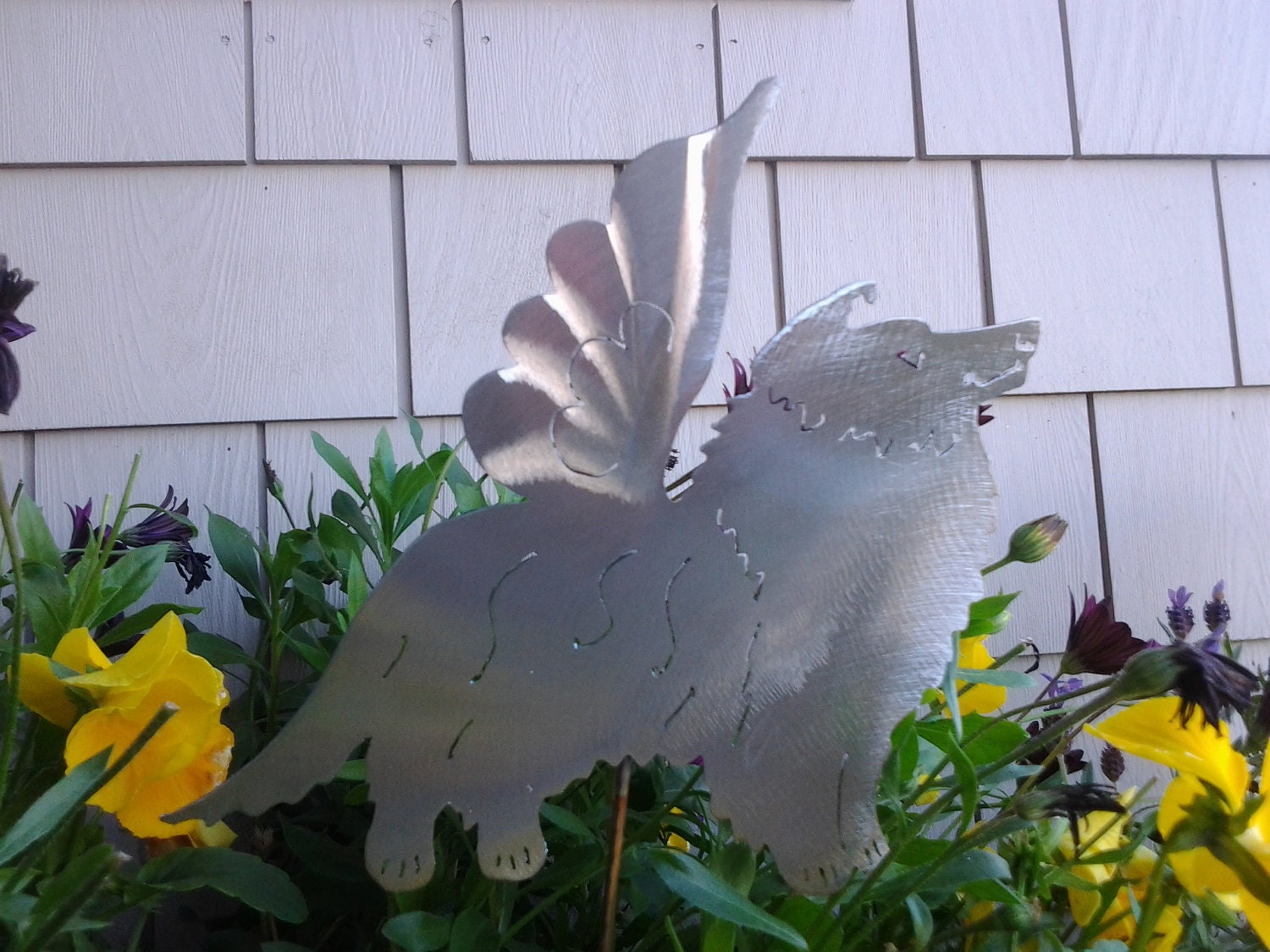 Angel sheltie pet lover outdoor ornament metal lawn decor yard for Angel outdoor decoration