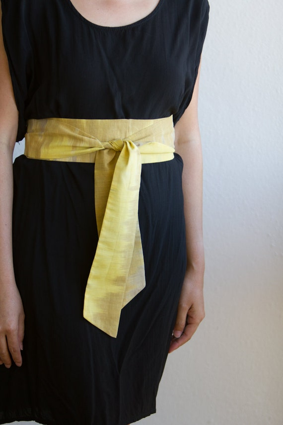 Ombre Obi Sash Belt Yellow and Taupe Cotton Fabric - made to order - limited