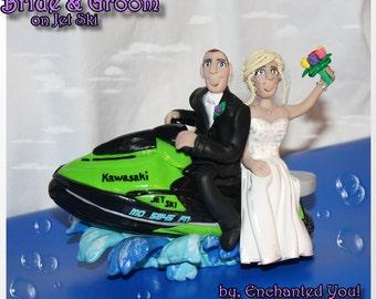 Wedding Cake Topper, Bride & Groom on Jet Ski
