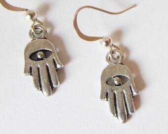 SMALL and Dainty HAMSA EARRINGS in Tibetan Silver, leadfree, Hand of Fatima, Khamsa Lucky Amulet