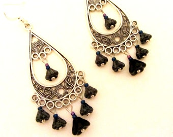 BEAUTIFUL POISON Filigree Style Chandelier Earrings in Antiqued Silver with Black Pewter Picasso Glass Blooms and hints of deep blue, purple