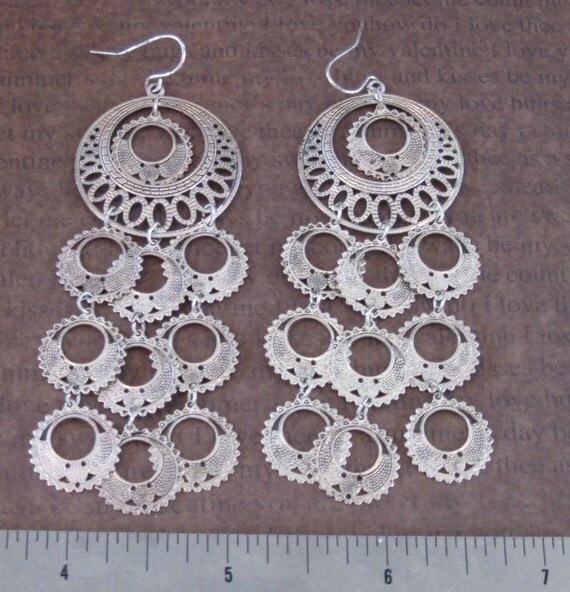 Sept destash old belly dancing tribal boho LONG silver tone earrings lightweight
