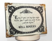 Quote on Parchment Framed Art OOAK (On the Right Track) Will Rogers, Scroll Design, Classic