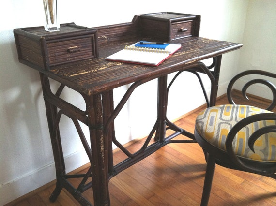 Vintage Bohemian Chic Bamboo Reed Writing Desk