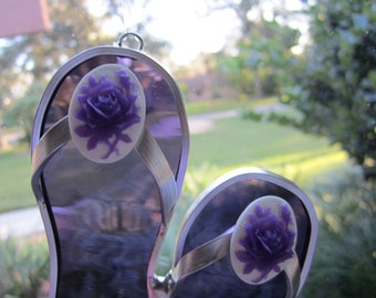 3-D Purple Rose Flipflop Suncatcher