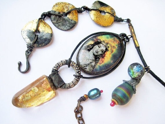 We are the Miracle. Cosmic Victorian Gold Leaf Necklace with Quartz,  Galaxy Nebula.