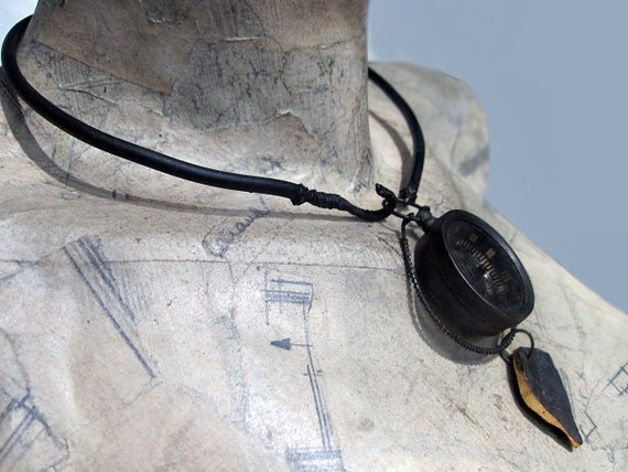 Space-Time. Black Victorian Tribal Steampunk Pendant Choker with Fossil and Compass.
