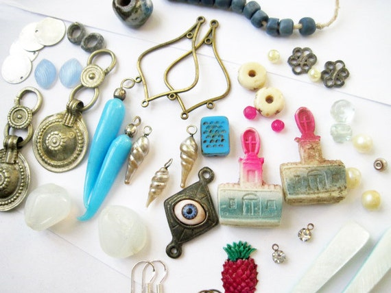 Winter Candy. Earring DIY Kit. Vintage Found object assemblage mixed media set. Cool blues and whites with hot pink touches.