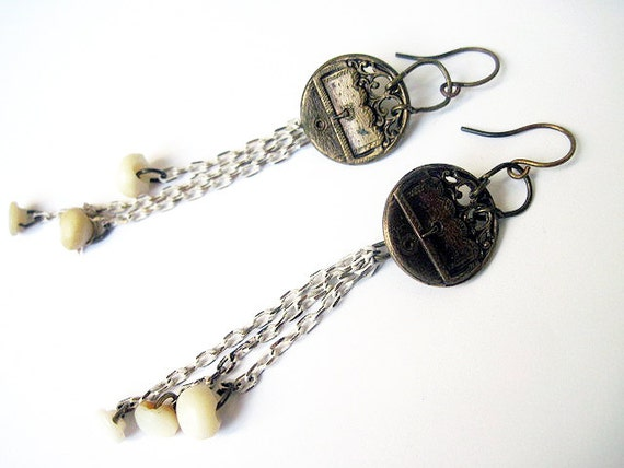 Mercy. Victorian Assemblage Earrings with Mop buttons and cut steel shanks.