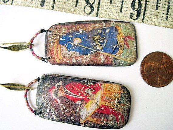 Death and the Maiden. Resin Tarot Earrings.