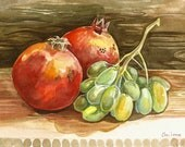 """Print from Original watercolor painting""""Autumn still life """" by Elina Lorenz Original available"""