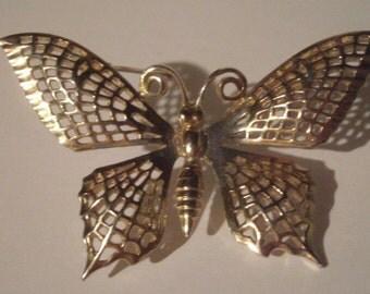 Vintage LEDA Butterfly Brooch - Gold Tone Filigree Butterfly Pin - Butterfly Pin - Ladies Butterfly Brooch - Gold Filigree Butterfly Pin