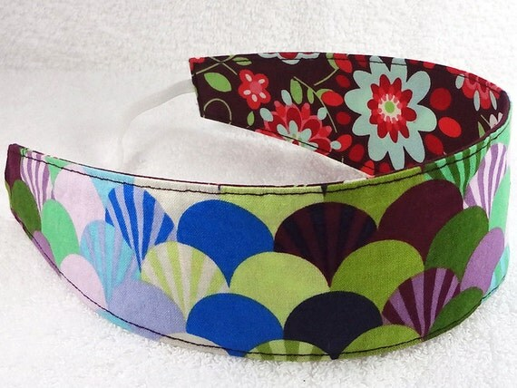 Reversible Fabric Headband for children - Cotton mod Tula Pink Parisville Burgundy Fan Flowers Party Favor - Bandeau fillette