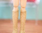jiajiadoll hand-knitting shinning golden leg warmers fit momoko and blyth