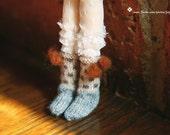 jiajiadoll- Hand Knit- brown dot pompom socks fits momoko- blythe -Misaki- Unoa light- Lati yellow