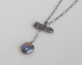Artisan Coin and Stick Pearl Lariat in Sterling Silver