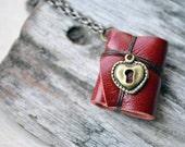 MiniatureBook Necklace Lock Heart & Maroon Color leather
