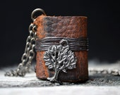 MiniatureBook Necklace Tree & Tan Brown leather.