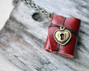 MiniatureBook Necklace Lock Heart & Maroon Color leather