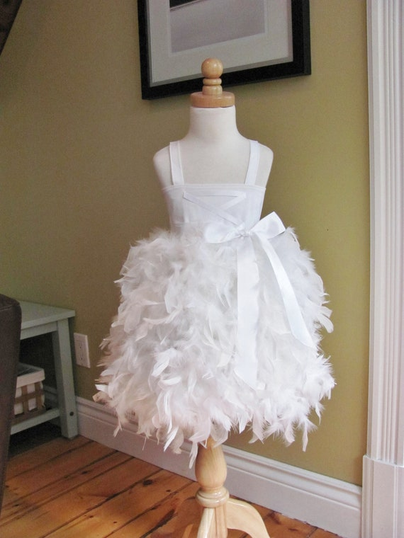 Flower Girl Dress -  Feather - Swan, Criss-Cross bodice - Made to Order Girls Sizes - 18m, 2t, 3t, 4t, 5/6, 7/8, 9/10, 11/12