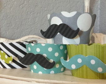 Mustache cupcake wrappers- YOU choose the colors