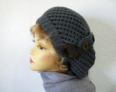 Knitted Beanie Slouchy Hat Grey Knit Hat with Wooden Buttons Fashion accessory Knit Beanie