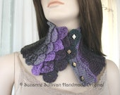 Woman's Cowl, Crocodile Stitch Cowl Scarf, Crocheted and Knitted Neckwarmer, Multi colors of Purple and Black, Woman's Cowl with Buttons