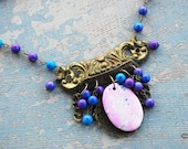 Bohemian Turquoise Necklace - Pink, Purple and Blue Turquoise - Antique Hardware Collection