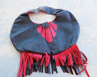 Tribal Leather Bag - Oversized Black and Red with Fringe - Modern Pocahontas Collection