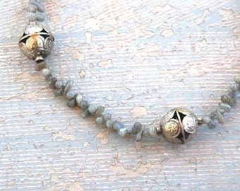 Ethnic Necklace - Labradorite and Afghan Silver Necklace