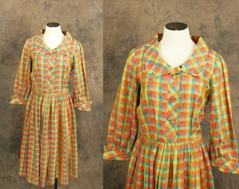 CLEARANCE SALE vintage 50s Dress - 1950s Day Dress - Citrus Plaid Dress Sz S