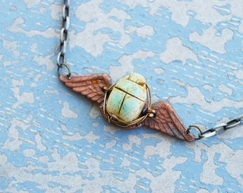 Egyptian Scarab Necklace - Boho Vintage Brass Winged Scarab Necklace