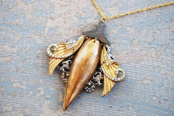 Steampunk Insect Necklace - Graceful Cicada - Industrial Revolution Collection