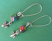 VISIONS OF PARIS earrings, silver fleur de lis, rainbow beads