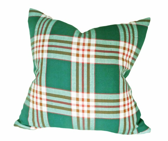 Green Plaid Throw Pillows Decorative Throw by PillowThrowDecor