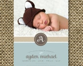 Baby Boy Birth Announcement Photo Card. 5x7. You Print Digital File - Delicate Label