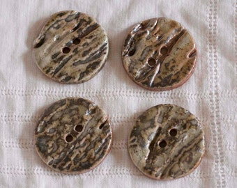Rustic Woodfired Lichen Button - Clay - Pottery - Ceramic - Handmade