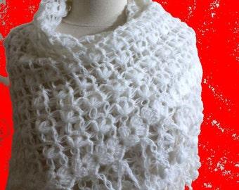 Shawl White Crochet Shawl Triangle Wrap Stole Bridal Shawl. READY TO SHIPPING