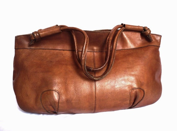 DANI French Vintage Brown Leather Handbag / Shopping bag