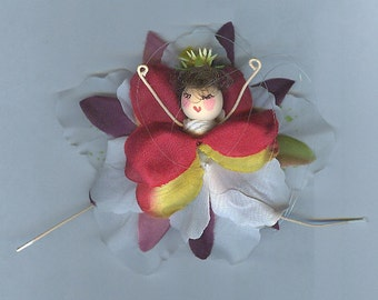 Brunette Flower Fairy with Red, Yellow, White and Purple Petals (014)
