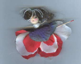 Brunette Flower Fairy with Red, White and Blue Petals (016)