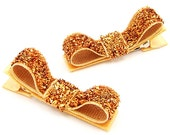 Orange Glitter Hair Clips, Copper Orange Glitter Hairbows, Glitter Tuxedo Clips, Glam, One Pair Glitter Clips for Baby Toddler Girls Women