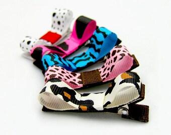 Animal Print Tuxedo Bows, Set of 5, Leopard Zebra Giraffe Dalmatian Cow Turquoise Blue Hot Pink Brown Red