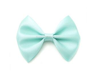 Aqua Satin Hair Bow, 3 Inch Bow, Classic Hair Bow, Aquamarine Blue, No Slip Infant Hair Bow