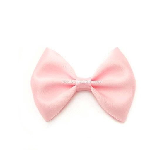 Pink Satin Bow, Classic Hair Bow, Toddler, GIrl, Infant Hairbows, 3 Inch Bow, Skinny Elastic Headband, Women