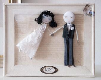 "Made to order, Framed Custom Wedding Portrait Personalized Art Dolls ""Classic Bride & Groom"", Shabby Chic Decor, Wedding Decor"