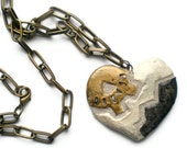 Steampunk Necklace Mosaic Tile Heart Gear Pendant