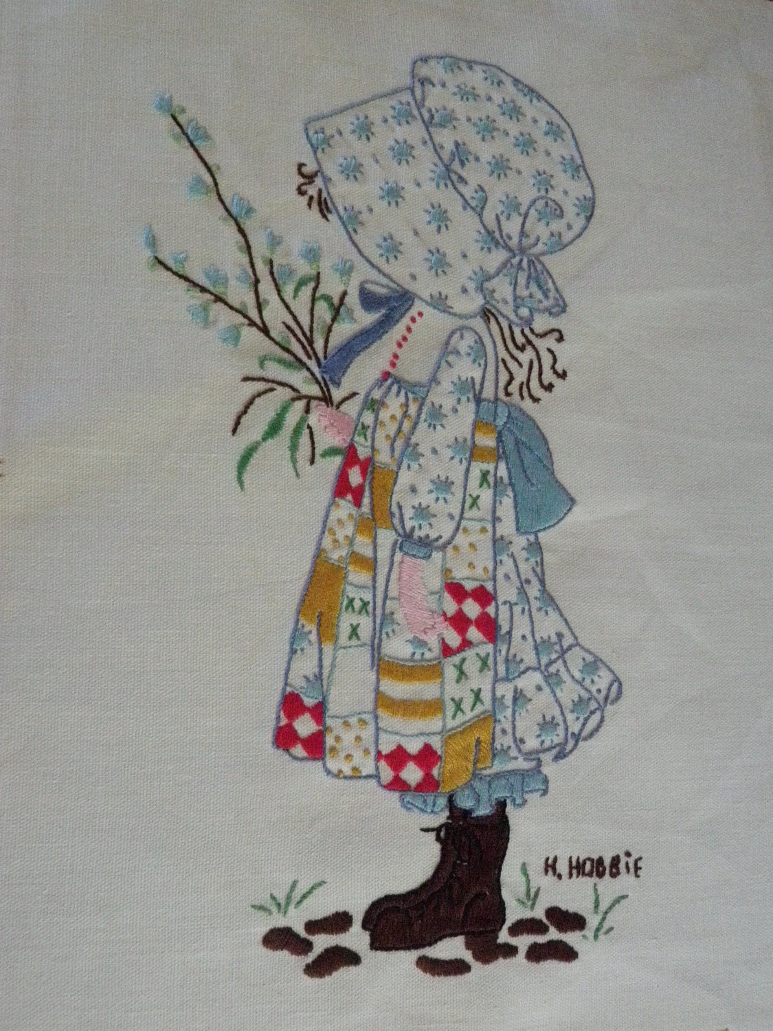 Holly hobbie vintage embroidery wall hanging