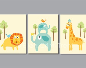 Kids Wall Art-zoo animal print set-nursery decor