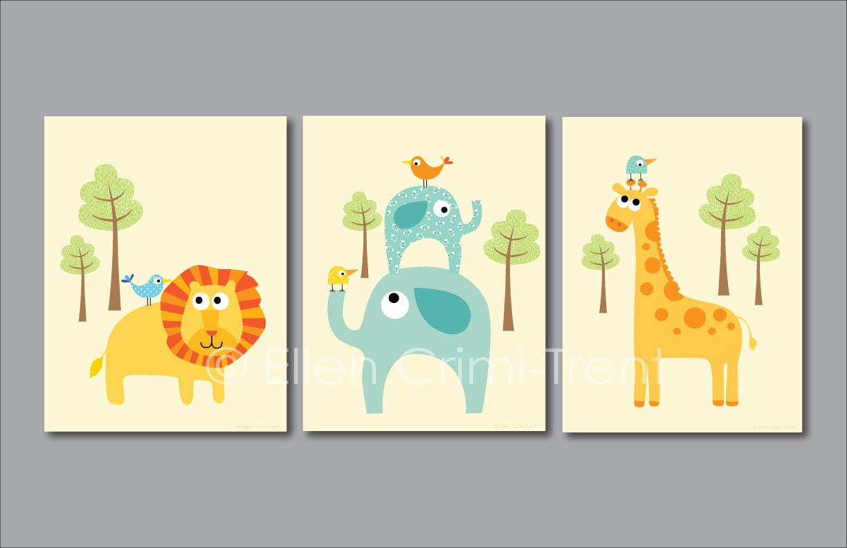 Kids wall art zoo animal print set nursery decor for Animals decoration